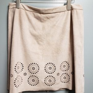 NWOT Vince Camuto faux Suede Skirt Cut-outs Beige